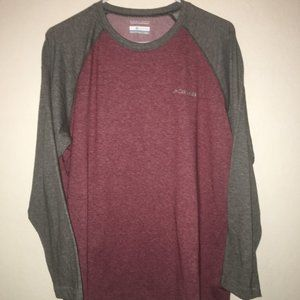 Columbia Omni-wick Men's Large Red Gray LS Shirt